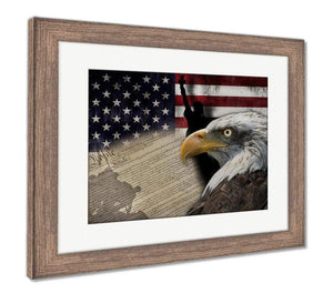 "US Drop Ship Framed Print 26"" x 30"" / Red/White/Blue / Rustic Barn Wood Frame Framed Print, American Flag And Monuments (3 Variants)"