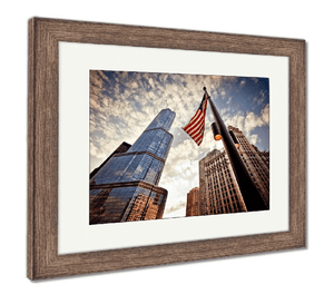 "US Drop Ship Framed Print 26"" x 30"" / Red/White/Blue / Rustic Barn Wood Frame Framed Print, American Flag Over Skyscrapers (3 Variants)"