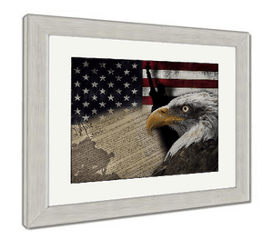 "US Drop Ship Framed Print 26"" x 30"" / Red/White/Blue / Silver Frame Framed Print, American Flag And Monuments (3 Variants)"