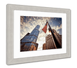 "Load image into Gallery viewer, US Drop Ship Framed Print 26"" x 30"" / Red/White/Blue / Silver Frame Framed Print, American Flag Over Skyscrapers (3 Variants)"