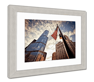 "US Drop Ship Framed Print 26"" x 30"" / Red/White/Blue / Silver Frame Framed Print, American Flag Over Skyscrapers (3 Variants)"