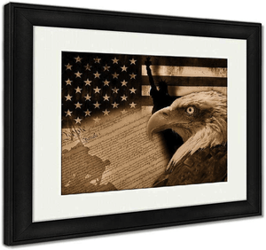 "US Drop Ship Framed Print 26"" x 30"" / Sepia Tone / Black Frame Framed Print, American Flag And Monuments (3 Variants)"