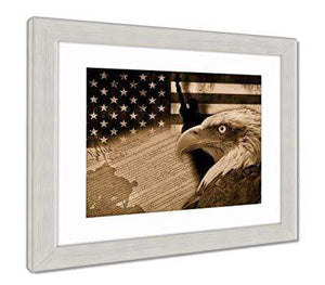 "US Drop Ship Framed Print 26"" x 30"" / Sepia Tone / Silver Frame Framed Print, American Flag And Monuments (3 Variants)"