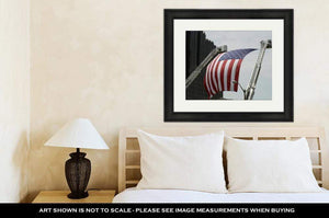 US Drop Ship Framed Print Framed Print, US Flag Between Firefighter Truck Ladders (3 Variants)
