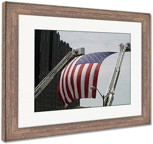 "US Drop Ship Framed Print Red/White/Blue / 26"" x 30"" / Rustic Barn Wood Frame Framed Print, US Flag Between Firefighter Truck Ladders (3 Variants)"