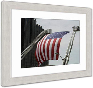 "US Drop Ship Framed Print Red/White/Blue / 26"" x 30"" / Silver Frame Framed Print, US Flag Between Firefighter Truck Ladders (3 Variants)"