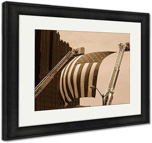 "US Drop Ship Framed Print Sepia Tone / 26"" x 30"" / Black Frame Framed Print, US Flag Between Firefighter Truck Ladders (3 Variants)"