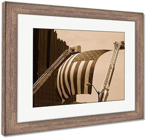"US Drop Ship Framed Print Sepia Tone / 26"" x 30"" / Rustic Barn Wood Frame Framed Print, US Flag Between Firefighter Truck Ladders (3 Variants)"