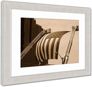 "US Drop Ship Framed Print Sepia Tone / 26"" x 30"" / Silver Frame Framed Print, US Flag Between Firefighter Truck Ladders (3 Variants)"
