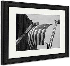 "US Drop Ship Framed Print Vintage Black/White / 26"" x 30"" / Black Frame Framed Print, US Flag Between Firefighter Truck Ladders (3 Variants)"