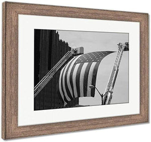 "US Drop Ship Framed Print Vintage Black/White / 26"" x 30"" / Rustic Barn Wood Frame Framed Print, US Flag Between Firefighter Truck Ladders (3 Variants)"