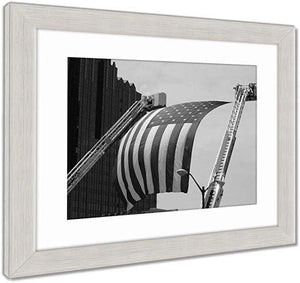 "US Drop Ship Framed Print Vintage Black/White / 26"" x 30"" / Silver Frame Framed Print, US Flag Between Firefighter Truck Ladders (3 Variants)"