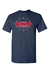 American Patriots Apparel FRONT / Navy / MEDIUM Unisex Trump Stars & Stripes Short Sleeve Shirt