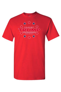 American Patriots Apparel FRONT / Red / LARGE Unisex Trump Stars & Stripes Short Sleeve Shirt