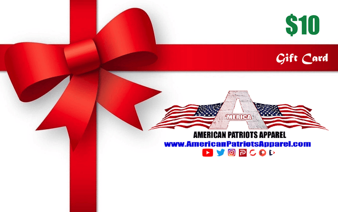 American Patriots Apparel Gift Card <span class=money>$10.00 USD</span> / OSFA / White American Patriots Apparel Gift Card