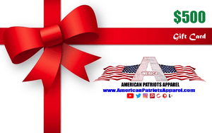 American Patriots Apparel Gift Card <span class=money>$500.00 USD</span> / OSFA / White American Patriots Apparel Gift Card