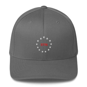 American Patriots Apparel Grey / S/M 1776 Thirteen Colonies Besty Ross Flexfit Structured Twill Hat (7 Variants)
