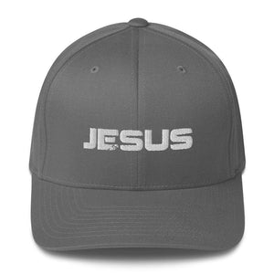 American Patriots Apparel Grey / S/M JESUS White Text Flexfit Structured Twill Hat (7 Variants)