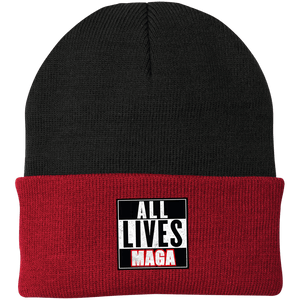 CustomCat Hats Athletic Red/Black / One Size All Lives MAGA CP90 Knit Cap (16 Variants)