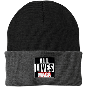 CustomCat Hats Black/Athletic Oxford / One Size All Lives MAGA CP90 Knit Cap (16 Variants)