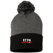 Load image into Gallery viewer, CustomCat Hats Black/Dark Heather / One Size 1776 Patriot SP15 Pom Pom Knit Cap (12 Variants)