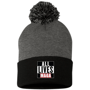 CustomCat Hats Black/Dark Heather / One Size All Lives MAGA SP15 Pom Pom Knit Cap (12 Variants)
