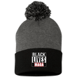 Load image into Gallery viewer, CustomCat Hats Black/Dark Heather / One Size All Lives MAGA SP15 Pom Pom Knit Cap (12 Variants)