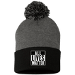 Load image into Gallery viewer, CustomCat Hats Black/Dark Heather / One Size All Lives Matter SP15 Pom Pom Knit Cap (12 Variants)