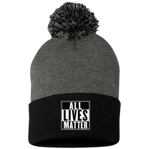 CustomCat Hats Black/Dark Heather / One Size All Lives Matter SP15 Pom Pom Knit Cap (12 Variants)