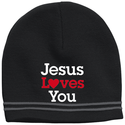 CustomCat Hats Black/Iron Grey / One Size Jesus Loves You Red Loves White Text Beanie (3 Variants)