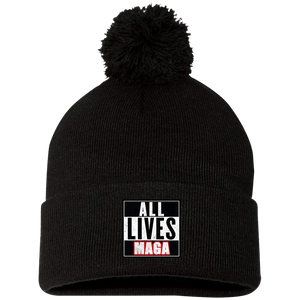 CustomCat Hats Black / One Size All Lives MAGA SP15 Pom Pom Knit Cap (12 Variants)