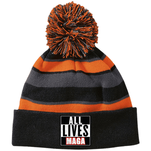 CustomCat Hats Black/Orange / One Size All Lives MAGA Striped Beanie with Pom (8 Variants)