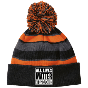 CustomCat Hats Black/Orange / One Size All Lives Matter Not Just Black Ones Striped Beanie with Pom (8 Variants)