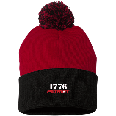 CustomCat Hats Black/Red / One Size 1776 Patriot SP15 Pom Pom Knit Cap (12 Variants)