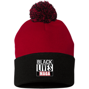 CustomCat Hats Black/Red / One Size All Lives MAGA SP15 Pom Pom Knit Cap (12 Variants)