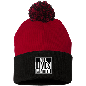 CustomCat Hats Black/Red / One Size All Lives Matter SP15 Pom Pom Knit Cap (12 Variants)