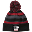 Load image into Gallery viewer, CustomCat Hats Black/Scarlet / One Size All Lives MAGA Striped Beanie with Pom (8 Variants)