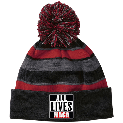 CustomCat Hats Black/Scarlet / One Size All Lives MAGA Striped Beanie with Pom (8 Variants)