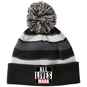 CustomCat Hats Black/White / One Size All Lives MAGA Striped Beanie with Pom (8 Variants)