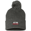 Load image into Gallery viewer, CustomCat Hats Dark Heather/ / One Size 1776 Patriot SP15 Pom Pom Knit Cap (12 Variants)