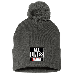 CustomCat Hats Dark Heather/ / One Size All Lives MAGA SP15 Pom Pom Knit Cap (12 Variants)