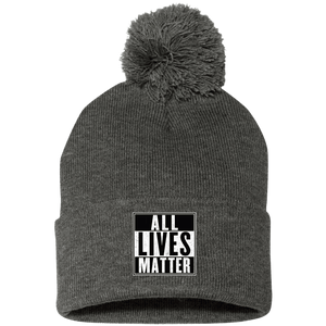 CustomCat Hats Dark Heather/ / One Size All Lives Matter SP15 Pom Pom Knit Cap (12 Variants)