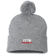 Load image into Gallery viewer, CustomCat Hats Heather Grey/ / One Size 1776 Patriot SP15 Pom Pom Knit Cap (12 Variants)