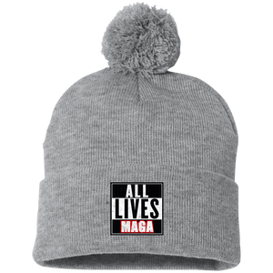 CustomCat Hats Heather Grey/ / One Size All Lives MAGA SP15 Pom Pom Knit Cap (12 Variants)