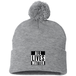 CustomCat Hats Heather Grey/ / One Size All Lives Matter SP15 Pom Pom Knit Cap (12 Variants)