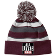Load image into Gallery viewer, CustomCat Hats Maroon/White / One Size All Lives MAGA Striped Beanie with Pom (8 Variants)