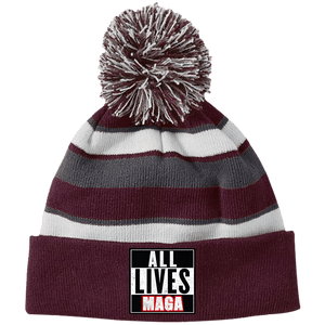 CustomCat Hats Maroon/White / One Size All Lives MAGA Striped Beanie with Pom (8 Variants)