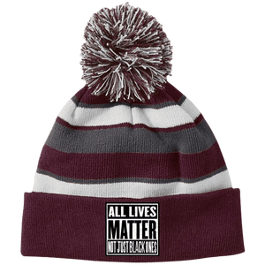 CustomCat Hats Maroon/White / One Size All Lives Matter Not Just Black Ones Striped Beanie with Pom (8 Variants)