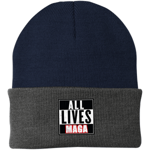 CustomCat Hats Navy/Athletic Oxford / One Size All Lives MAGA CP90 Knit Cap (16 Variants)