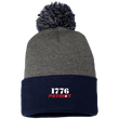 Load image into Gallery viewer, CustomCat Hats Navy/Dark Heather / One Size 1776 Patriot SP15 Pom Pom Knit Cap (12 Variants)